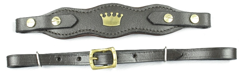 Hackamore-riemen Crown Braun/Messing